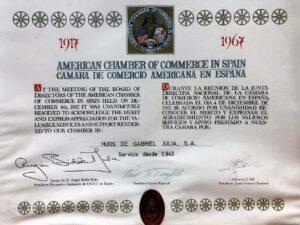 Diploma Cámara de Comercio Americana 1967 / 1967 American Chamber of Commerce Diploma