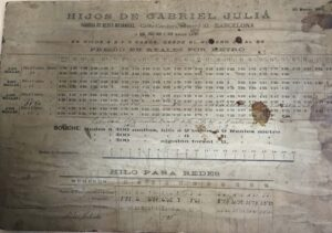 Tarifa año 1899 / Rates on 1899