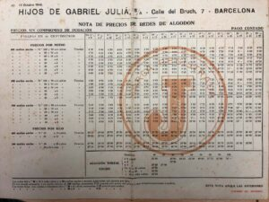 Tarifa año 1942 / Rates on 1942